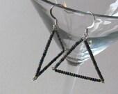 SALE - Mini Glass Bead Triangle Earrings