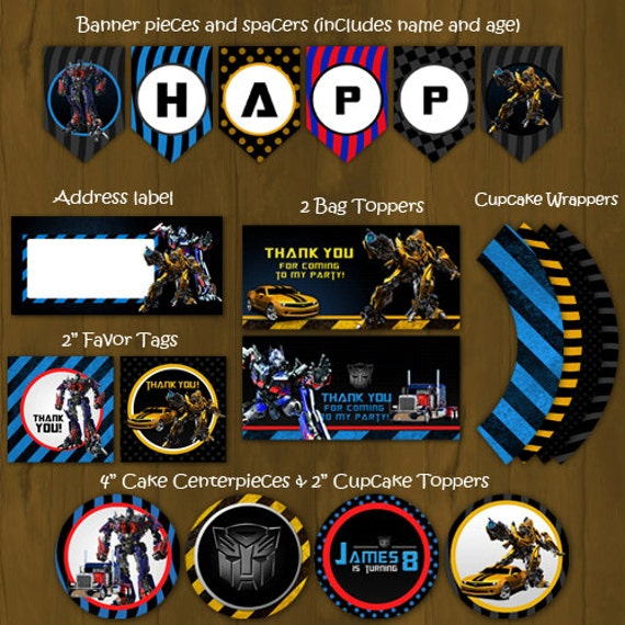 Transformers Printable Birthday Party by SplashboxPrintables