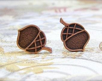 Antique Copper Acorn post earrings