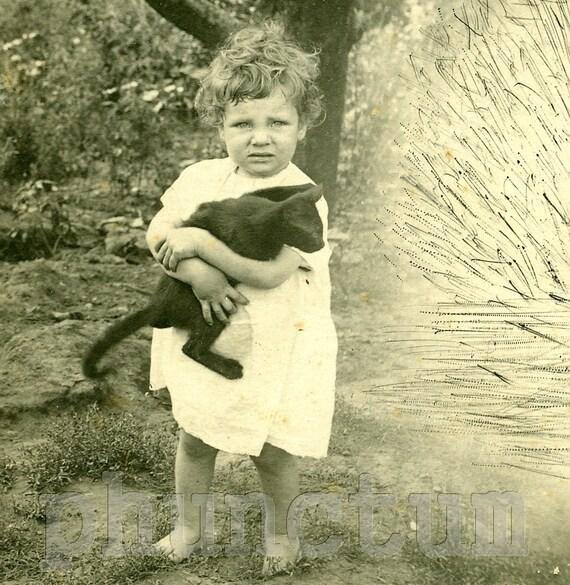 Antique Real Photo Postcard: Black Cat, Little Girl & Spooky Ectoplasm RPPC