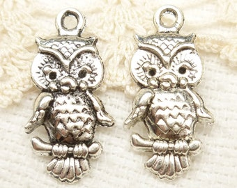 Baby Owl Charms, Antiqued Silver (6) - S49