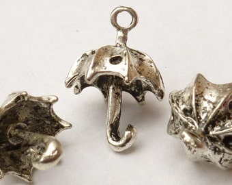 Umbrella Charms, 3-D Antiqued Silver (4) - S75