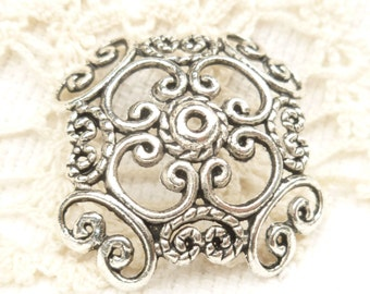 Extra Large Vintage Look Filigree Bead Caps, Antique Silver (4) - SF61
