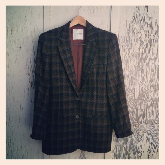 Vintage 90s Georges Marciano Wool Navy and Olive Houndstooth Oversize Blazer Size 10