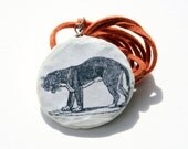black tiger illustration - resin pendant - orange cord