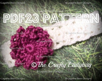 Loopty Loop flower headband pattern - PDF23 - Newborn to adult sizes