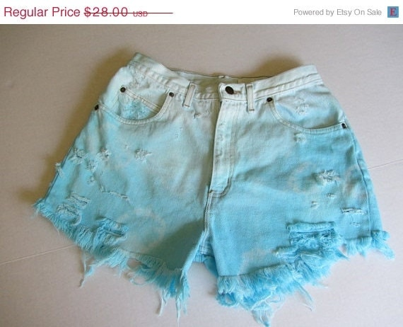 50% OFF Vintage Denim Shorts... Ombre... Tie Dyed .... Turquoise