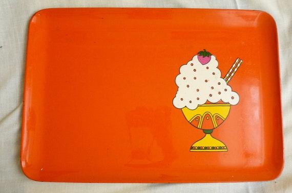 "vintage 60's pop art orange lacquered 11""x16"" tray with ice cream sundae print"