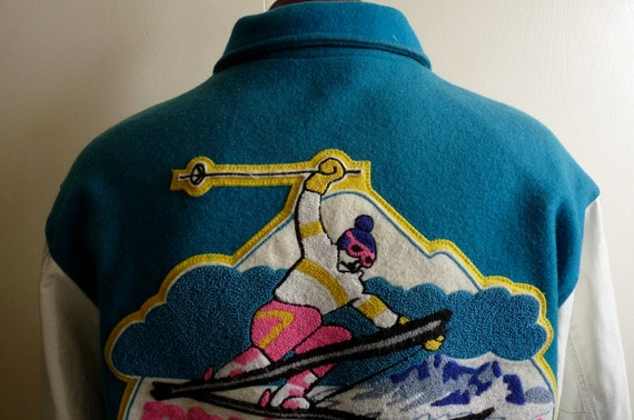 80's white leather sleeve/teal wool men's/unisex lettermen varsity jacket pep's aspen skier embroider/appliqued patch  neon pink/yellow