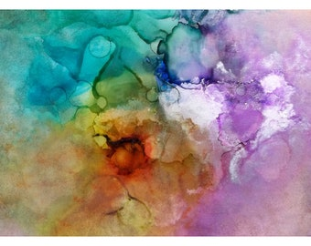 P10 - Colorful Whimsical Heavenly Pastel Abstract Postcard