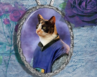 Calico Cat Jewelry Pendant Necklace - Brooch Handcrafted Ceramic