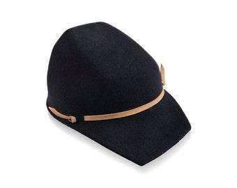Winter Felt Visor Hat, womens hat, mens hat, custome hats, mens cap, gray hat
