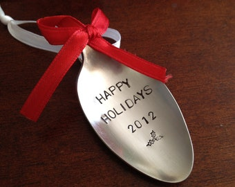 Set of 12   Recycled Silverware Spoon Christmas Ornament Hand Stamped  Happy Holidays 2012