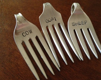 recycled silverware....Repurposed Vintage Silver-Plate Fork Cheese Markers set of 3