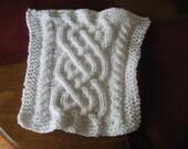 White cotton, cableknit dishcloth