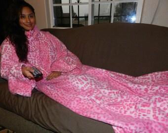 Hot Pink & Baby Pink Cheetah Snuggie ,Fleece with Sleeves Unisex