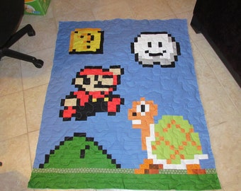 Mario Baby Quilt with Koopa - Question Box - Cloud