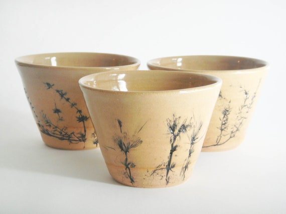 Three pottery cups with herb prints, ceramic tea cups with lavender and thyme impressions of autumnal garden, Meadow series