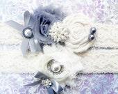 Grey and Ivory Vintage Bridal Garter and Toss garter set .. Wedding Garter .. Wedding Garter Set .. Garter .. Grey Garter