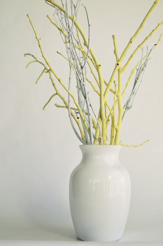Yellow And White Painted Vase And Branches By