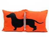Sausage dog cushion covers, tangerine and black, dog pillows, decorative pillows, sofa pillows, valentine's day