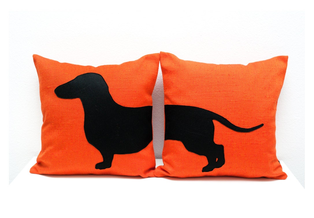 Sausage Dog Cushion Covers Personalized Pillows Tangerine