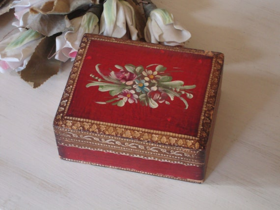 Reserved -ITALIAN FLORENTINE BOX - Hand Painted Floral - Red Gold - Shabby Italy Chic