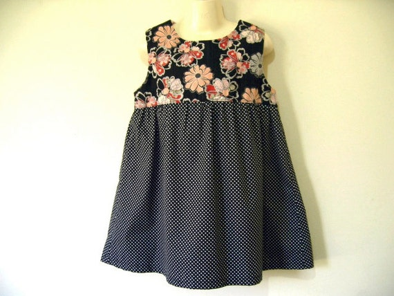 SALE - Girls Summer  Dress - Black & Orange Flower Dress (Size 4-5)
