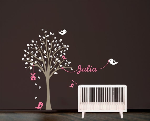 Tree with birds and name Wall Decal. Wall Sticker. Vinil wall decal. Nursery decal