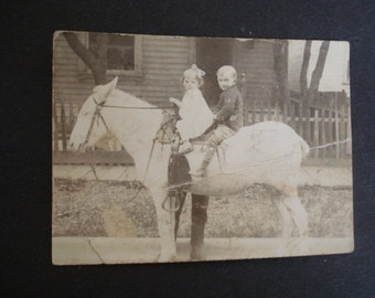 Gorgeous Antique Vintage Picture  - Children On a Pony