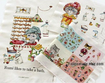 Shower Cat Cotton Linen Fabric Kids Children Fabric Curtain Quilting Bags Fabric- One panel 140x40cm