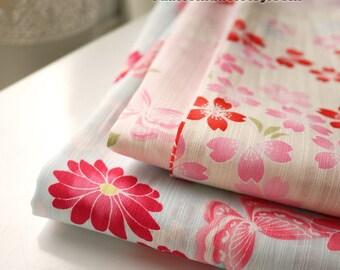 Shabby Chic Fabric Japanese Kimono Pink Sakura Flower Two Sections Quilting