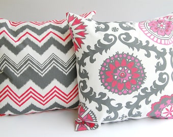 Throw pillow covers set of two Rasperry pink red gray white cushion covers chevron zig zag