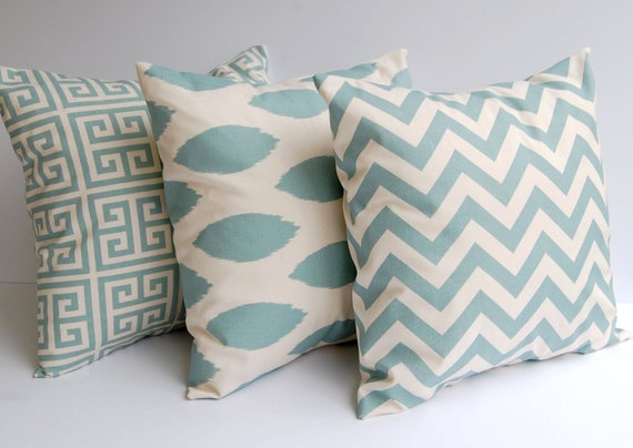 Throw pillow covers set of three 18 x 18 inches Greek Key Chevron ikat Chipper - pale smokey ...