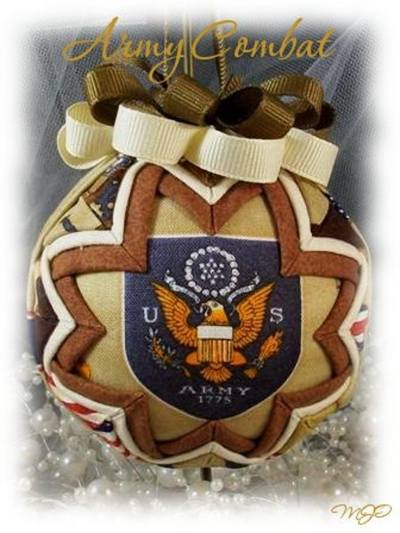 Quilted Ornament -Army Combat Military Handmade Keepsake Ornament