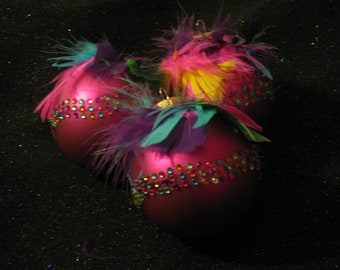 Mardi Gras Ornament with Bling and Feathers