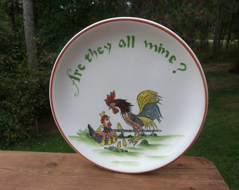 CLEARANCE  Chicken Rooster Dinner Plate, Enesco Rooster Farm Scene