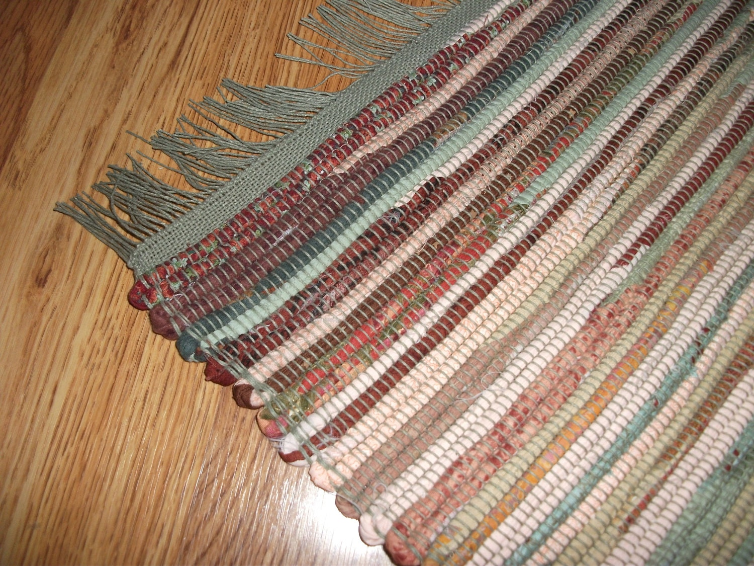 Hand Woven Cotton Rag Rug In Shades Of Sage Green Peach