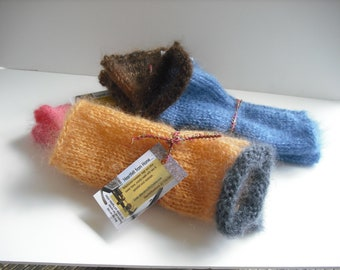 Mohair/silk/wool fingerless handknit wristwarmers- brown or gold