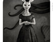 Framed. White Rabbit - Giclée pigment print on Hahnemuhle 100% cotton paper. Obscure Victorian Surrealism
