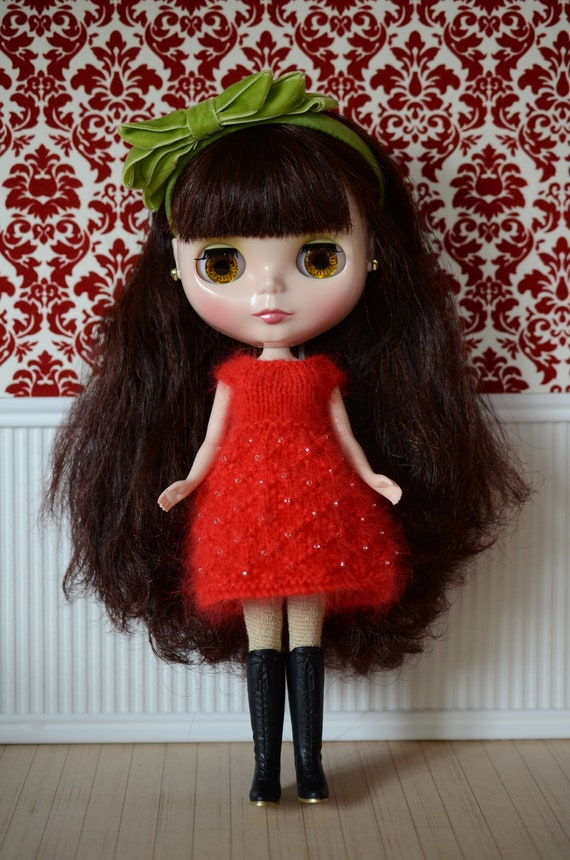 Red 100% angora Neo Blythe Licca Pullip Licca Dal beaded babydoll dress with beading