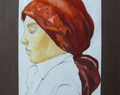 """Original drawing with pencil and watercolor  """"Portrait of a girl with kerchief """""""