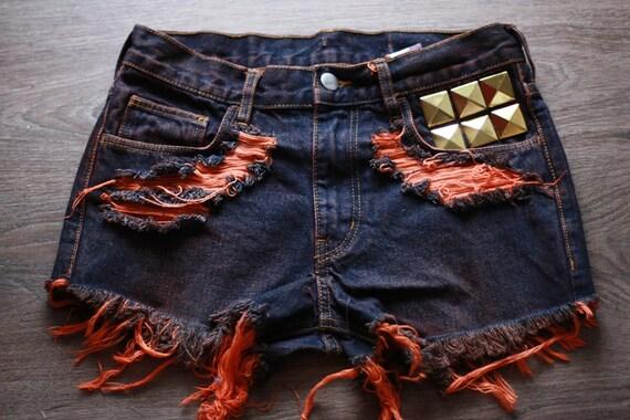 DIP DYE High waisted Denim Shorts Vintage Destroyed DIY Cut Off Jeans S