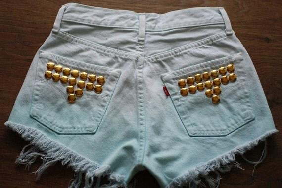 Dip Dye Ombre Denim Levi Shorts Vintage Destroyed DIY Cut Off Jeans High Waisted Denim S