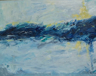 """SALE! Original abstract seascape oil painting """"The Feel of the Wave"""", 24"""" x 36"""" oil on canvas.  Home decor art."""