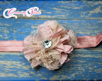 Girls Hair Bow, Vintage Pink Headband, Beige Hair Accessories, Dusty Rose Fabric Flower Headband, Hair Clip, Brooch