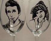 Happy Days, Wine Glasses, Fonzie, hand painted wine glass, Henry Winkler