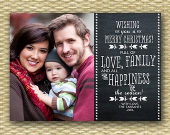 Christmas Photo Card - Customized, DIY Printable, Holiday - Chalkboard Landscape