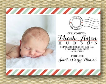 Photo Birth Announcement Baby Announcement Baby Boy Announcement Baby Girl Announcement Photo Announcement Baby Photo Card Birth Stats