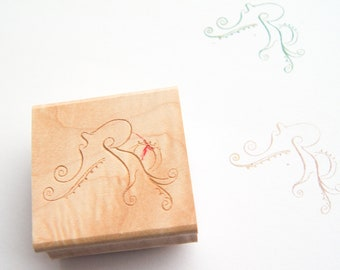 Octopus Stamp - Decorative Curlicue Stamp -- Wood Mounted Rubber Stamp